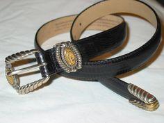 Womens Brighton Used Black Lizard Grain Leather Belt M