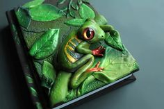 DISPLAY ITEM - frog Journal- secret diary- sketchbook- polymer clay - fantasy steampunk gothic lolita blank OOAK