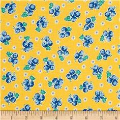 Kaufman Birds of Liberty Berries Yellow