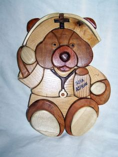 ON SALE HANDMADE INTARSIA NURSE BEAR sold but we by WoodenArtbyTom, $28.10