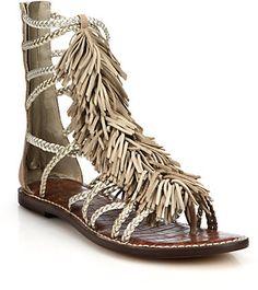 Sam Edelman Gisela Fringed Metallic Leather Gladiator Sandals