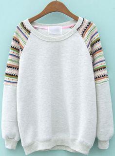Light Grey Contrast Striped Knit Long Sleeve Sweatshirt US$31.13