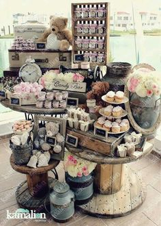 25 Best Sweet Dessert Table Ideas For Your Party Attempt to have a few of exactly the same pieces so it is possible to use it in order to balance your table out and have some consistency. Dessert Buffet, Dessert Bars, Dessert Tables, Bar A Bonbon, Deco Champetre, Candy Cart, Sweet Bar, Vintage Party, Baby Shower Vintage