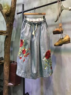 Spring Drawstring Flowers Embroidered Jeans Beautiful Wide Leg Trousers    #wideleg #beautiful #flowers #embroidered #trousers #pants #denim #fashion