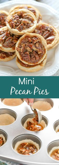 Mini Pecan Pies are easy to make and can also be made ahead of time. These are the perfect mini treat for Thanksgiving too!These Mini Pecan Pies are easy to make and can also be made ahead of time. These are the perfect mini treat for Thanksgiving too! Mini Desserts, Brownie Desserts, Holiday Desserts, Holiday Baking, Delicious Desserts, Yummy Food, Mini Dessert Recipes, Quick Dessert, Green Desserts