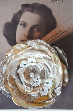 on ebay!! wow!  nude cream gold flower hair clip brooch dress sash pin lace vintage 12 cm wedding xl