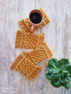 Macrame coasters set of cotton rope coasters/for coffee tea cup/table protector/kitchen decor/ boho rustic home decor/Christmas gift - handmade mugs Macrame Design, Macrame Art, Macrame Projects, Cotton Rope, Woven Cotton, White Cotton, Small Mats, Home Decor Christmas Gifts, Tea Coaster