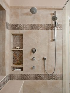 Upstairs bathroom storage in shower