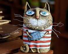 Your place to buy and sell all things handmade Paper Mache Sculpture, Pottery Sculpture, Pottery Art, Pottery Animals, Ceramic Animals, Clay Cats, Plaster Art, Paper Mache Crafts, Polymer Clay Art