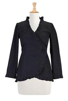 Fall poplin wrap blouse