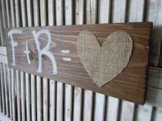 Personalized initials sign/burlap heart/weddings/anniversary/love/distressed