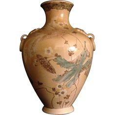 Japanese Antique Satsuma Cream and Flowers Large Vase (Make an offer added)