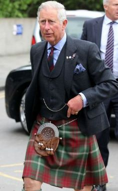 Prince Charles wore a kilt in Rothesay tartan for the visit on 11 June 2013