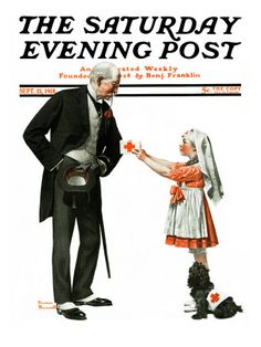 """Giving to Red Cross"" Saturday Evening Post Cover, September 21,1918"