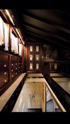 Walk in dressing room in roof above bathroom.