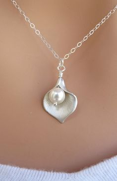 Calla Lily and Pearl necklace. STERLING SILVER.Wedding. Bridesmaids Gift.. $21.00, via Etsy.