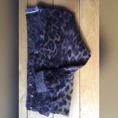 J CREW Animal Print Mohair Blend Cardigan J. Crew Animal Print Mohair Wool Blend Cardigan. Deep vee with 5 button closure. Very versatile. J. Crew Sweaters Cardigans