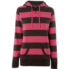 Striped black & pink hoodie(: