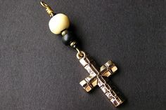 Christian Charm. Purse Charm. Cross Key Chain. Car Mirror Charm in Wood and Bone. Sacred Vow. Handmade. by Gilliauna from Bits n Beads by Gilliauna. Find it now at https://ift.tt/25RxW2H!