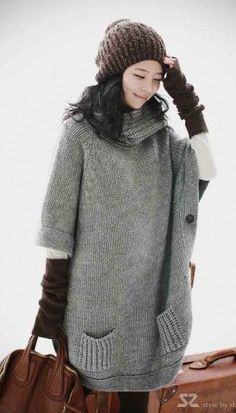 Side Double Breasted Sweater Grey