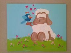 Leuk voor op de kinderkamer! Schilderij uit de serie beestenboel Molly en Sep. Formaat 40cm bij 50cm. Handgemaakt. www.stephaniefiseler.nl