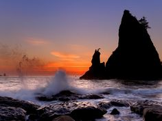 Rialto Beach at Sunset, Olympic National Park, Washington