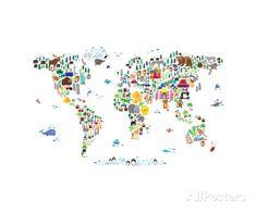 Animal Map of the World Fotografisk trykk av Michael Tompsett hos AllPosters.no