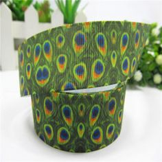 "1 Yard of 7/8"" Grosgrain Ribbon - ""Peacock Feathers"""