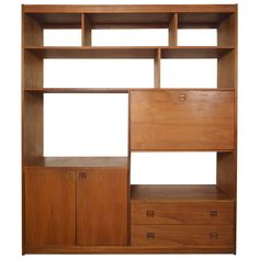 Mid-Century Modern Wall Unit | From a unique collection of antique and modern bookcases at https://www.1stdibs.com/furniture/storage-case-pieces/bookcases/