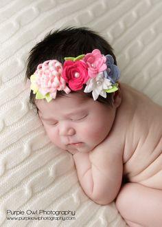 Spring Felt Flower Garland Headband  Baby Headband With by bloomz, $18.00
