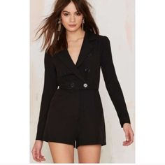{HP} NWT Nastygal Blazer Romper Brand new Nastygal blazer romper still in sealed package. The material is polyester & is machine washable (cold). Retail price is $68 & sold out. I can get you $3.95 shipping just let me know & I'll create a new listing! Nasty Gal Pants Jumpsuits & Rompers