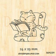 Bookworm cat rubber stamp. $6.00, via Etsy.