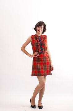 Vintage 1960s Plaid Dress - 60s Mini Dress - Red Plaid.