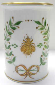 "Limoges Hand Painted Porcelain Desk Item - ""Empire"" (Napoleon Bee) Pencil Cup"