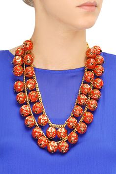 Two layer red bubbles necklace by Valliyan. Shop at: www.perniaspopups... #necklace #valliyan #designer #jewellery #shopnow #perniaspopupshop #happyshopping.