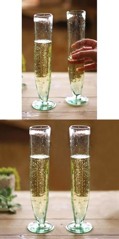 Recycled Glass Champagne Flutes - Set of 6 | dotandbo.com