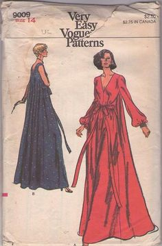 MOMSPatterns Vintage Sewing Patterns - Vogue 9009 Vintage 70's Sewing Pattern DRAMATIC Glam Very Easy Deep V Neck, Back Watteau Pleat Tent Maxi Gown, Nightgown, Lounge Dress Size 14