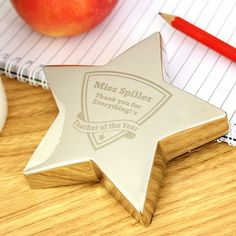 Engraved Teacher of the Year Star Paperweight
