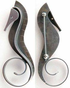 Milky Way Jewels - Paul Lobel Modernist Seahorse Brooch
