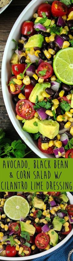 This Avocado, Black Bean & Corn Salad w/ Cilantro Lime Dressing is such a bright, colorful and flavorful dish. It looks like a fiesta on a plate! #limesaladdressing