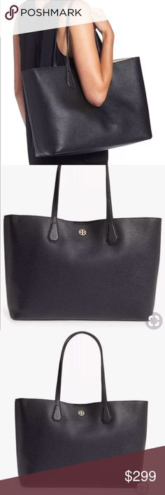 Tory Burch Perry Pebbled Leather Handbag  black New with tags, No dust cover  Shopping bag included  Original price 395  It is made by grained leather  11.3 h x 15 w x 6d  Open top with snap closure  Gold tone logo at center  2 slip pockets  Interior contrast  💯 % authentic guaranteed Tory Burch Bags Totes