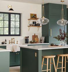 "32"" Altona Aged Brass & Brushed Brass Barebulb Chandelier | Rejuvenation Home Kitchens, Kitchen Remodel, Kitchen Design, Dark Green Kitchen, Green Cabinets, Kitchen Decor, Kitchen Cabinet Inspiration, Diy Kitchen Cabinets, Kitchen Interior"