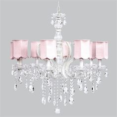 @rosenberryrooms is offering $20 OFF your purchase! Share the news and save!  Eight Arm Pageant White Beaded Chandelier with Pink Scallop Shades #rosenberryrooms