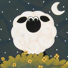 """ Just One "" Whimsical Sheep Art Painting by Annie Lane Folk Art  www.yessy.com/annielane"