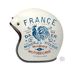 Check out this cool hand drawn typography on an old motorcycle helmet