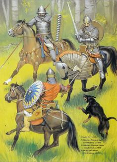 Medieval Russian Armies Russian Cavalry Osprey Publishing - art by Angus McBride Medieval Knight, Medieval Armor, Medieval Fantasy, Armadura Medieval, Military Art, Military History, Military Costumes, Cool Swords, Horse Armor