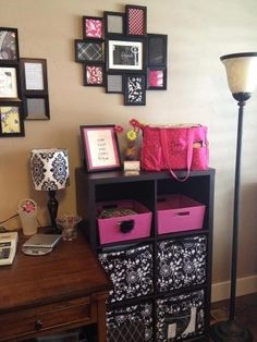Thirty-one style office! Love the framed fabric swatches