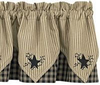 Country Curtain Valances - Black Star Embroidered Point Valance