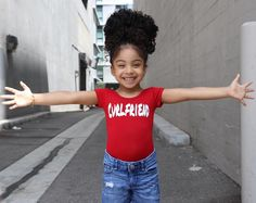 "Hey Curlfriend, hey!!  Our red ""Curlfriend"" leotard w/ snaps is a must in your curly girls wardrobe!"