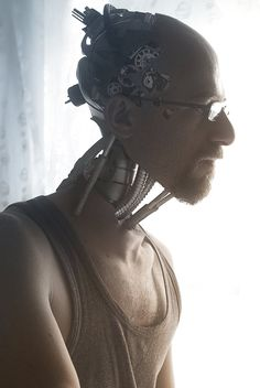 "surrogateself: "" rightclickcollect: "" Positronic self-Portrait by "" This piece is great, fantastic photoshop work. However, if this is a cyborg… why would you need the reading glasses? Cyberpunk 2077, Arte Cyberpunk, Photomontage, Science Fiction, Steampunk, Photoshop, Ex Machina, Shadowrun, Sci Fi Fantasy"